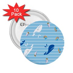 Whaling Ship Blue Sea Beach Animals 2 25  Buttons (10 Pack)