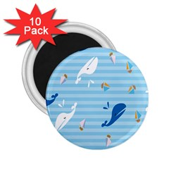 Whaling Ship Blue Sea Beach Animals 2 25  Magnets (10 Pack)