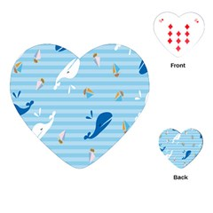 Whaling Ship Blue Sea Beach Animals Playing Cards (heart)