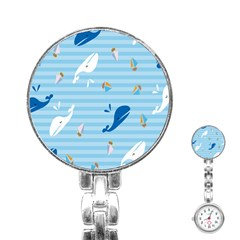 Whaling Ship Blue Sea Beach Animals Stainless Steel Nurses Watch by Alisyart