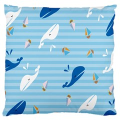 Whaling Ship Blue Sea Beach Animals Large Flano Cushion Case (two Sides)