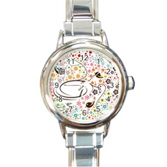 Flower Floral Rose Sunflower Bird Back Color Orange Purple Yellow Red Round Italian Charm Watch