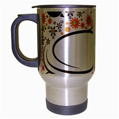 Flower Floral Rose Sunflower Bird Back Color Orange Purple Yellow Red Travel Mug (silver Gray)