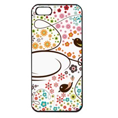 Flower Floral Rose Sunflower Bird Back Color Orange Purple Yellow Red Apple Iphone 5 Seamless Case (black)