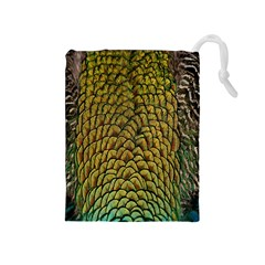 Colorful Iridescent Feather Bird Color Peacock Drawstring Pouches (medium)