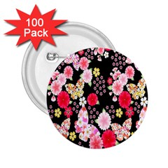 Flower Arrangements Season Rose Butterfly Floral Pink Red Yellow 2 25  Buttons (100 Pack)