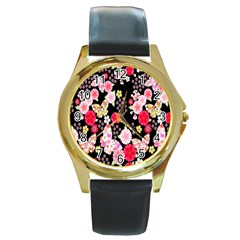Flower Arrangements Season Rose Butterfly Floral Pink Red Yellow Round Gold Metal Watch