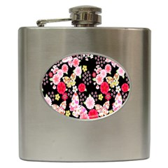 Flower Arrangements Season Rose Butterfly Floral Pink Red Yellow Hip Flask (6 Oz) by Alisyart