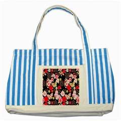 Flower Arrangements Season Rose Butterfly Floral Pink Red Yellow Striped Blue Tote Bag