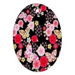 Flower Arrangements Season Rose Butterfly Floral Pink Red Yellow Oval Ornament (two Sides)