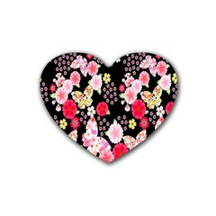 Flower Arrangements Season Rose Butterfly Floral Pink Red Yellow Rubber Coaster (heart)  by Alisyart
