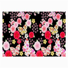 Flower Arrangements Season Rose Butterfly Floral Pink Red Yellow Large Glasses Cloth (2 Side)