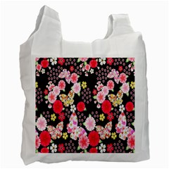 Flower Arrangements Season Rose Butterfly Floral Pink Red Yellow Recycle Bag (one Side) by Alisyart