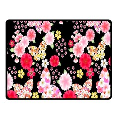 Flower Arrangements Season Rose Butterfly Floral Pink Red Yellow Fleece Blanket (small)