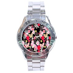Flower Arrangements Season Rose Butterfly Floral Pink Red Yellow Stainless Steel Analogue Watch by Alisyart