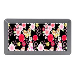 Flower Arrangements Season Rose Butterfly Floral Pink Red Yellow Memory Card Reader (mini) by Alisyart