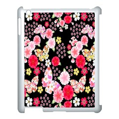 Flower Arrangements Season Rose Butterfly Floral Pink Red Yellow Apple Ipad 3/4 Case (white) by Alisyart