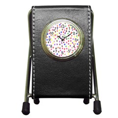 Paw Prints Background Pen Holder Desk Clocks by Amaryn4rt