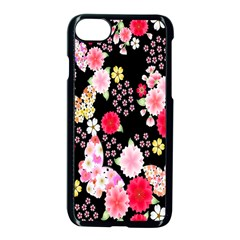 Flower Arrangements Season Rose Butterfly Floral Pink Red Yellow Apple Iphone 7 Seamless Case (black)