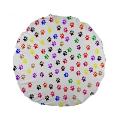 Paw Prints Background Standard 15  Premium Round Cushions