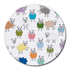 Sheep Cartoon Colorful Round Mousepads by Amaryn4rt