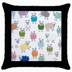 Sheep Cartoon Colorful Throw Pillow Case (black) by Amaryn4rt