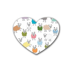 Sheep Cartoon Colorful Rubber Coaster (heart)  by Amaryn4rt
