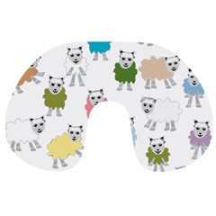 Sheep Cartoon Colorful Travel Neck Pillows by Amaryn4rt