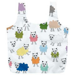 Sheep Cartoon Colorful Full Print Recycle Bags (l)