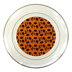 Witch Hat Pumpkin Candy Helloween Blue Orange Porcelain Plates