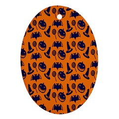 Witch Hat Pumpkin Candy Helloween Blue Orange Oval Ornament (two Sides) by Alisyart
