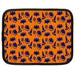 Witch Hat Pumpkin Candy Helloween Blue Orange Netbook Case (large)