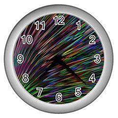 Texture Colorful Abstract Pattern Wall Clocks (silver)  by Amaryn4rt