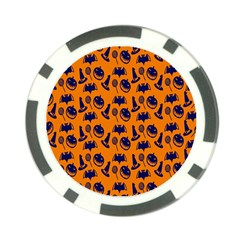 Witch Hat Pumpkin Candy Helloween Blue Orange Poker Chip Card Guard (10 Pack) by Alisyart