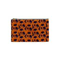 Witch Hat Pumpkin Candy Helloween Blue Orange Cosmetic Bag (small)  by Alisyart