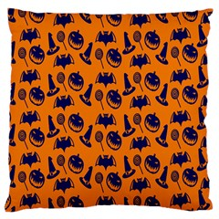 Witch Hat Pumpkin Candy Helloween Blue Orange Large Cushion Case (two Sides)