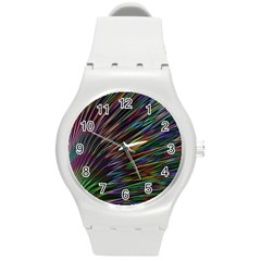 Texture Colorful Abstract Pattern Round Plastic Sport Watch (m)