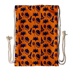 Witch Hat Pumpkin Candy Helloween Blue Orange Drawstring Bag (large) by Alisyart