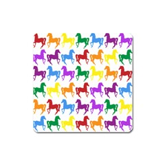 Colorful Horse Background Wallpaper Square Magnet by Amaryn4rt