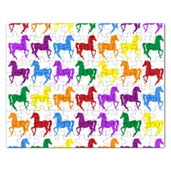 Colorful Horse Background Wallpaper Rectangular Jigsaw Puzzl by Amaryn4rt