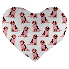 Dog Animal Pattern Large 19  Premium Flano Heart Shape Cushions by Amaryn4rt