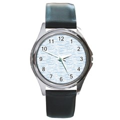 Wind Waves Grey Round Metal Watch