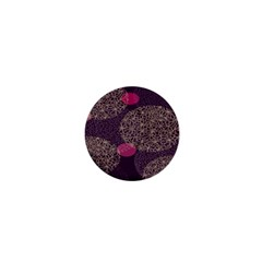 Twig Surface Design Purple Pink Gold Circle 1  Mini Magnets