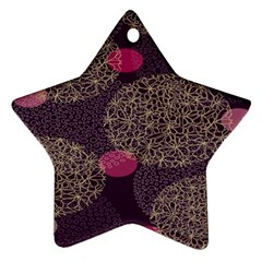 Twig Surface Design Purple Pink Gold Circle Ornament (star) by Alisyart