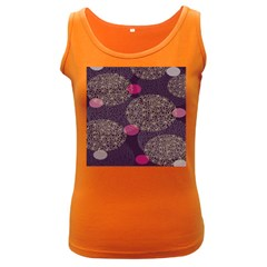 Twig Surface Design Purple Pink Gold Circle Women s Dark Tank Top