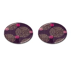 Twig Surface Design Purple Pink Gold Circle Cufflinks (oval)