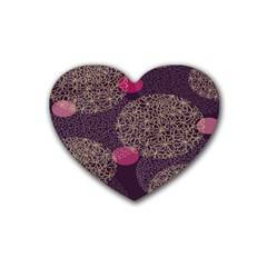 Twig Surface Design Purple Pink Gold Circle Rubber Coaster (heart)