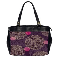 Twig Surface Design Purple Pink Gold Circle Office Handbags (2 Sides)