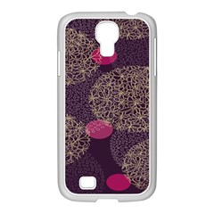 Twig Surface Design Purple Pink Gold Circle Samsung Galaxy S4 I9500/ I9505 Case (white) by Alisyart