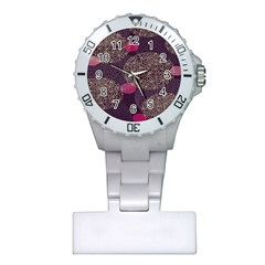 Twig Surface Design Purple Pink Gold Circle Plastic Nurses Watch by Alisyart